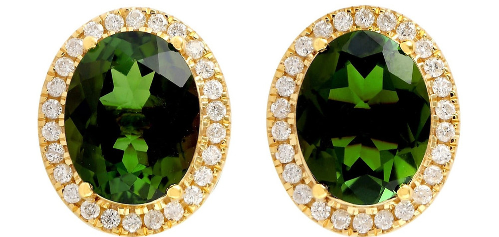 oval green tourmaline and diamond halo yellow gold stud earrings