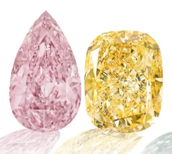 pear shape pink diamond and cushion shape canary yellow diamond on white background