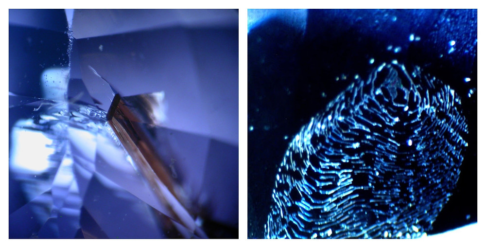 sapphire fracture and finger print close up under magnification