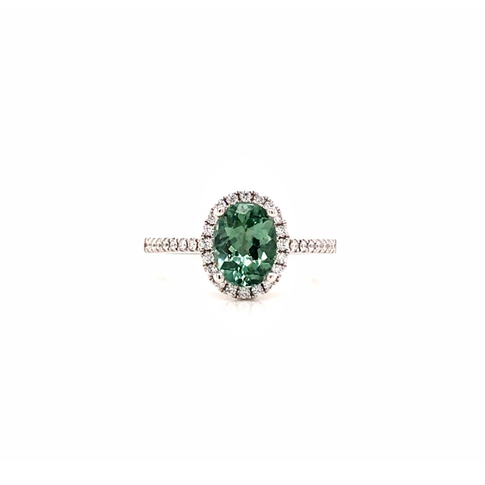 oval green tourmaline and diamond halo white gold ring