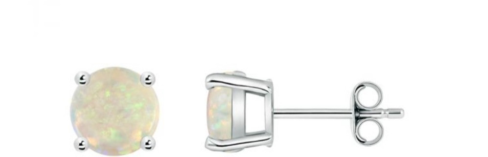round opal white gold studs