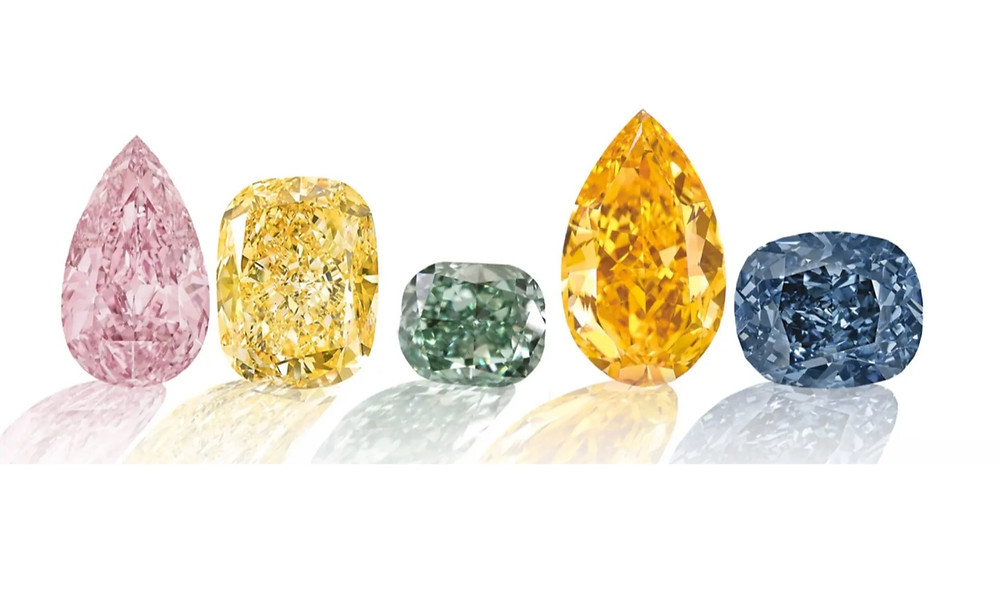 selection of fancy diamonds in a variety of shapes and colours