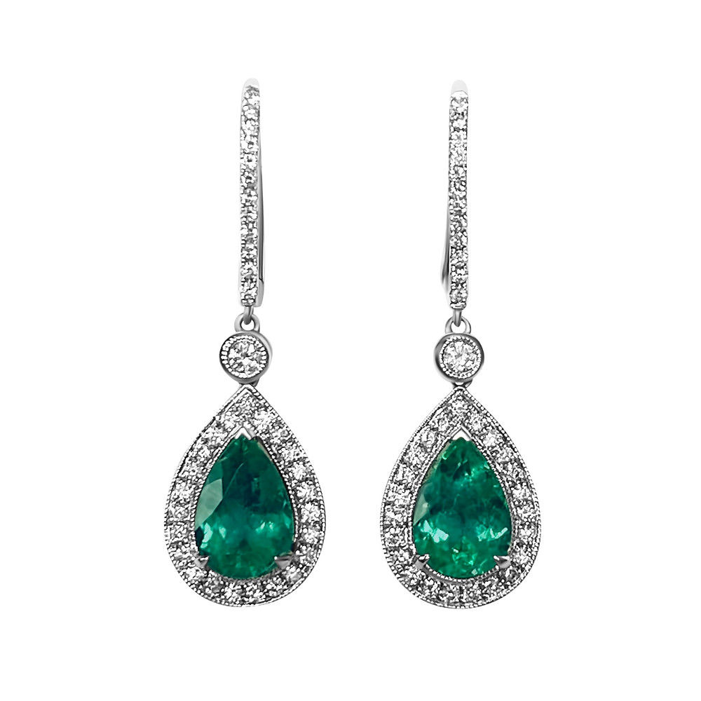 pear shape emerald and diamond halo white gold drop earrings