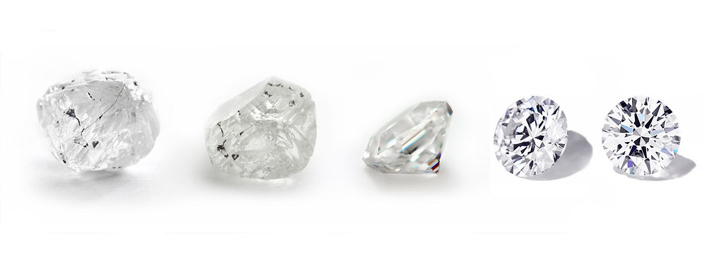 Progression from rough to polished diamond