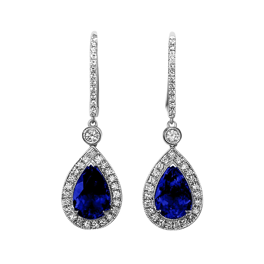 pear shape sapphire and diamond halo white gold drop earrings