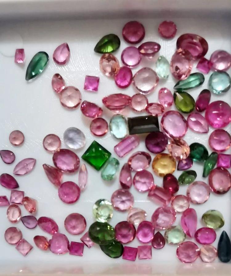 selection of loose multi coloured tourmaline