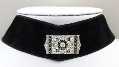 Edwardian style black ribbon dog collar with diamonds