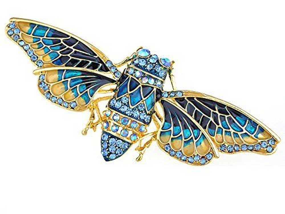 Art Deco Egyptian inspired scarab brooch with blue and yellow gold enamel and gemstones