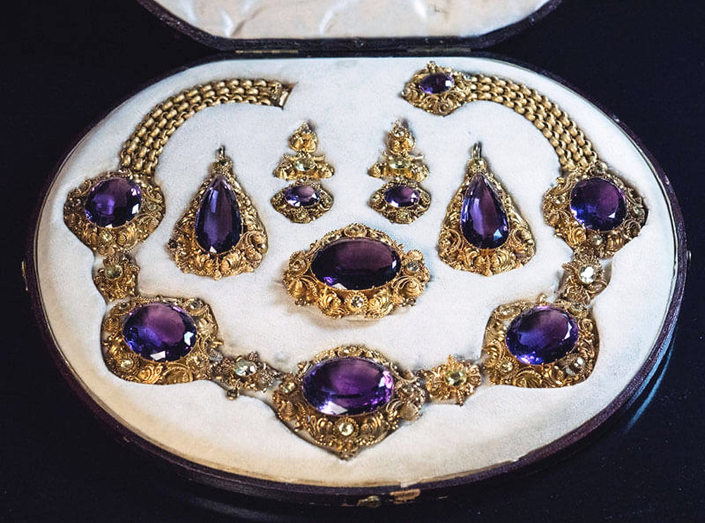 Georgian style amethyst parure jewellery set