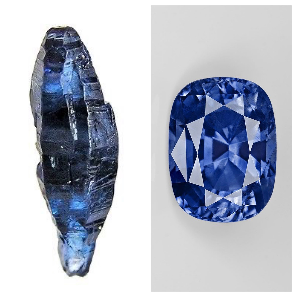 blue sapphire long rough crystal next to faceted cushion cut sapphire on white background
