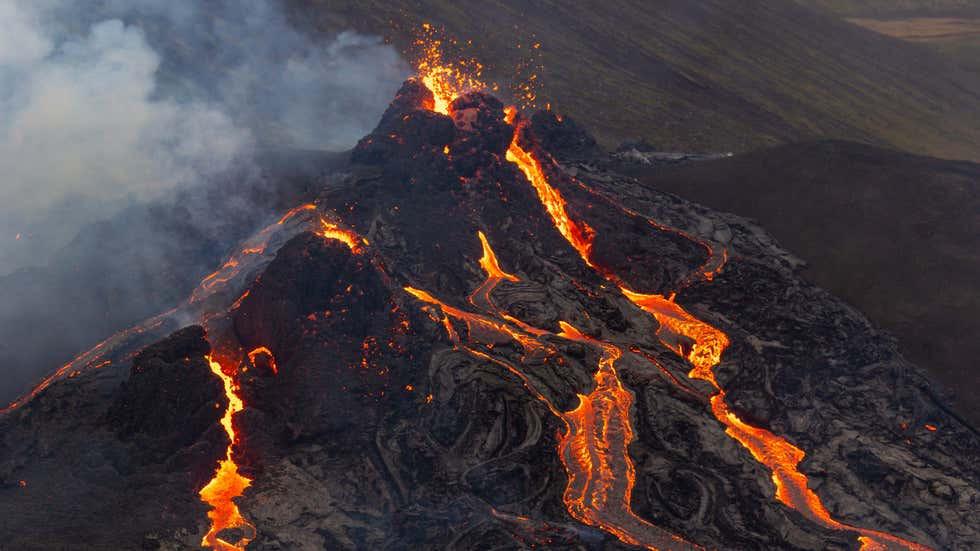 Mount Fagradalsfjall in Iceland, volcano eruption