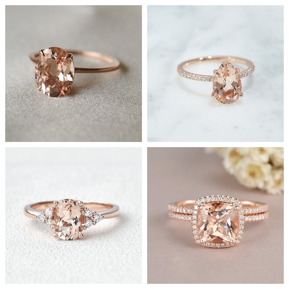 oval pear and cushion shape morganite and diamond rose gold engagement rings next to flowers