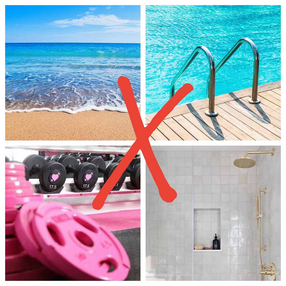 beach sand and sea ocean swimming pool pink gym weights neutral shower red cross