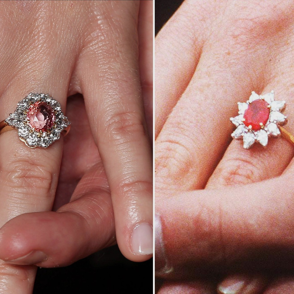 Princess Euginie Padparadscha engagement ring with a diamond halo and Sarah Ferguson's engagement ruby ring with a diamond halo comparison next to each other