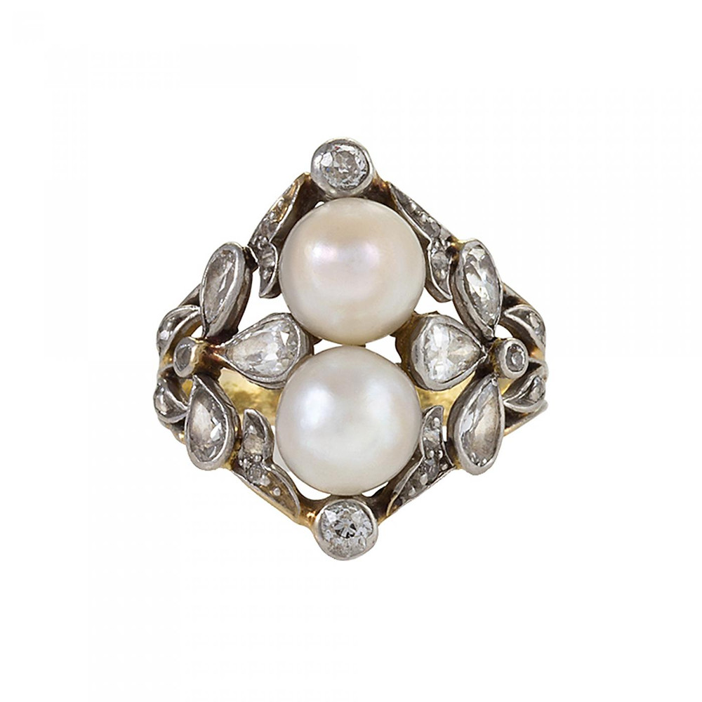Edwardian style pearl and diamond ring
