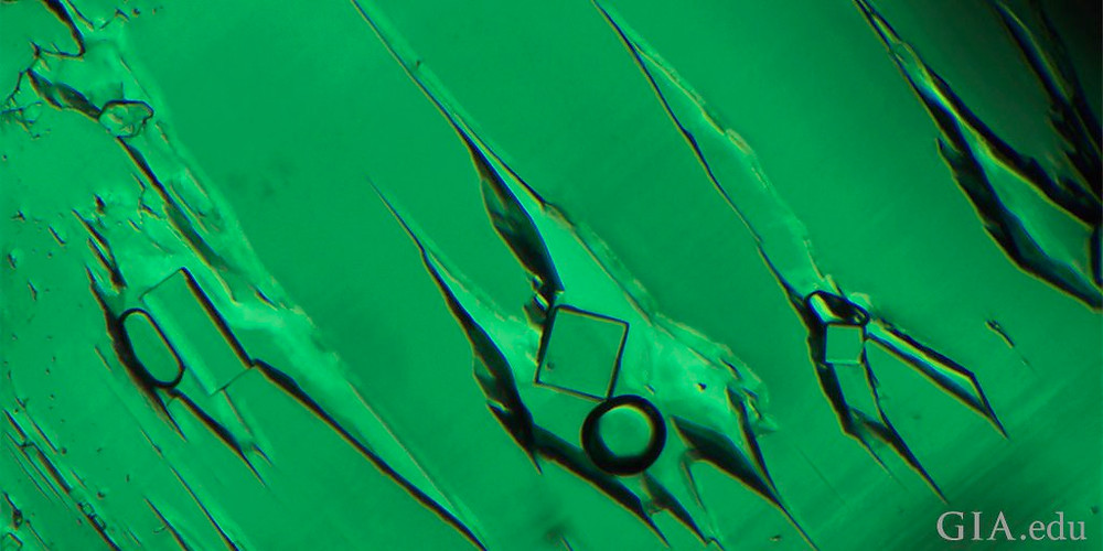 three phase inclusion in emerald under magnification showing crystal liquid and gas inclusions by GIA