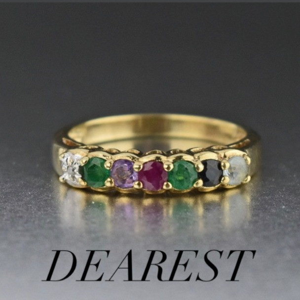 Victorian style acrostic ring with gemstones