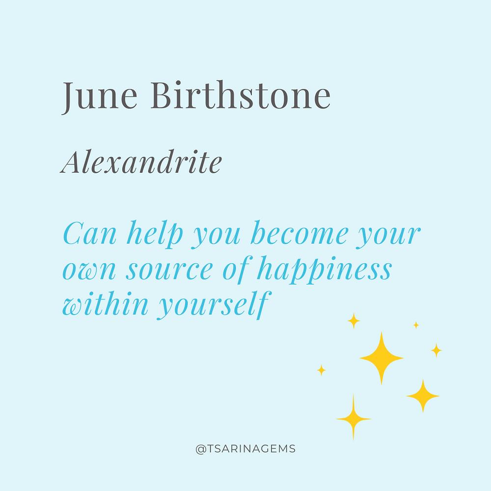 June birthstone alexandrite infographic by Tsarina Gems