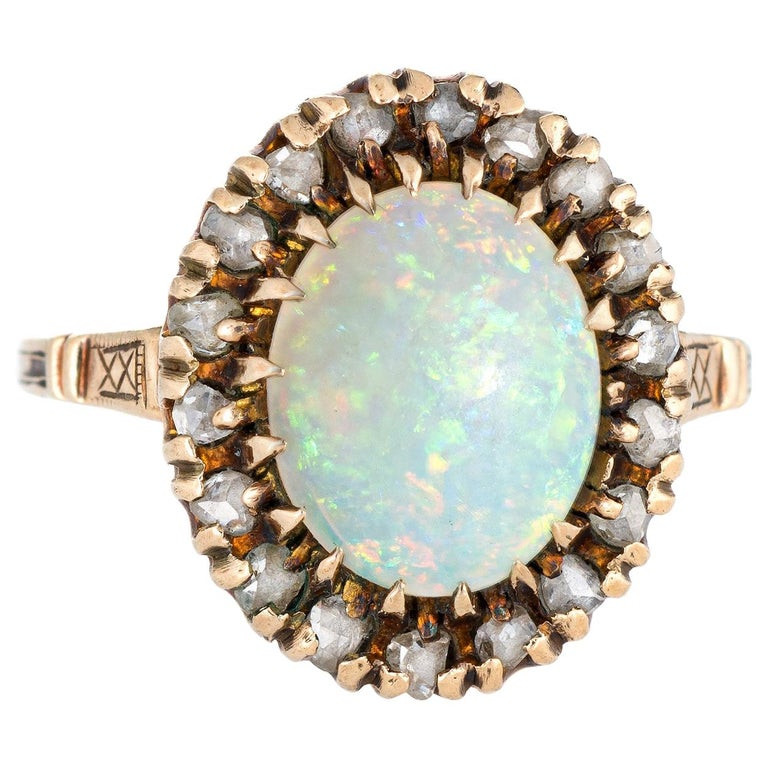 Victorian style white gold opal ring