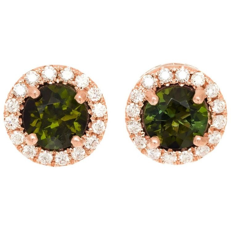 round green tourmaline and diamond halo rose gold stud earrings