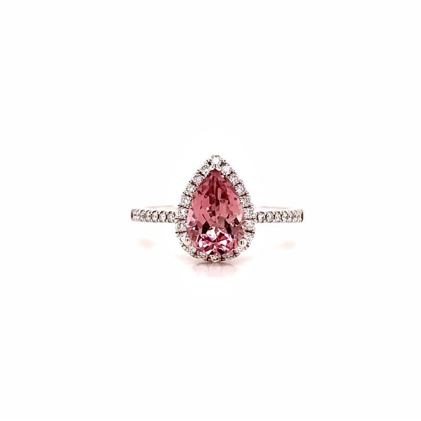 pear shape pink tourmaline and diamond halo white gold ring