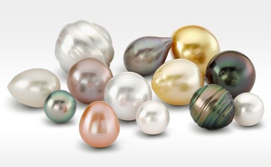 selection of pearls of different colours and shapes