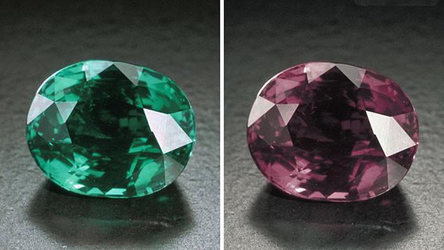 loose cushion alexandrite colour change comparison