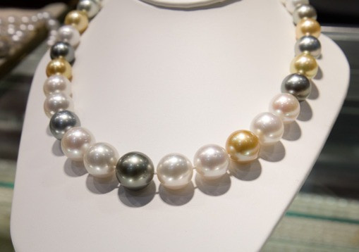 multi-coloured saltwater pearl necklace on display