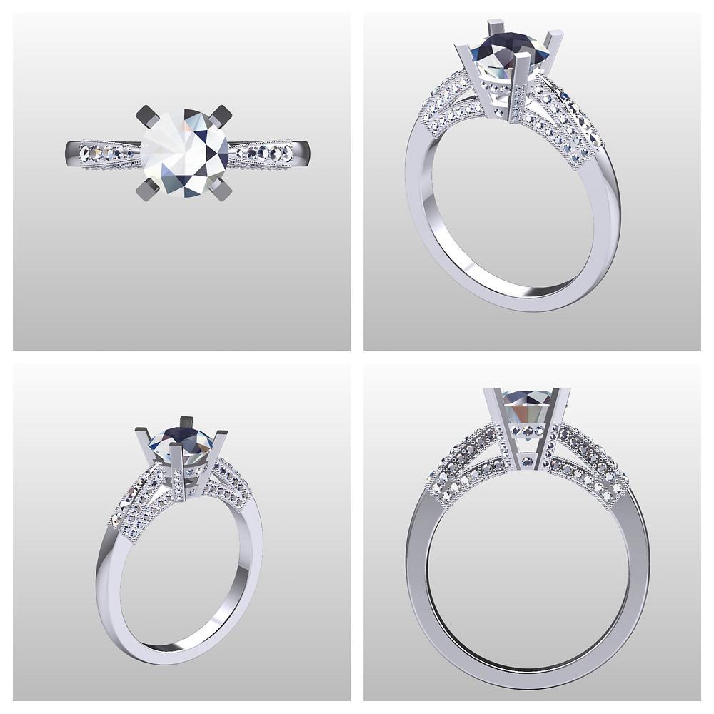 3D CAD design diamond white gold engagement ring