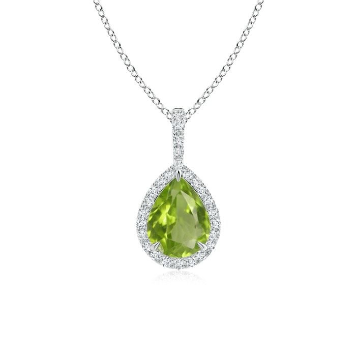 Pear shape peridot and diamond halo white gold necklace on a white background