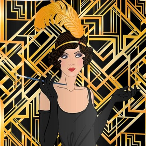 Poster of flapper girl from the roaring 20s on a black and gold background