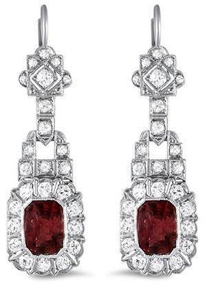 Geometric Art Deco ruby and diamond earrings in white gold