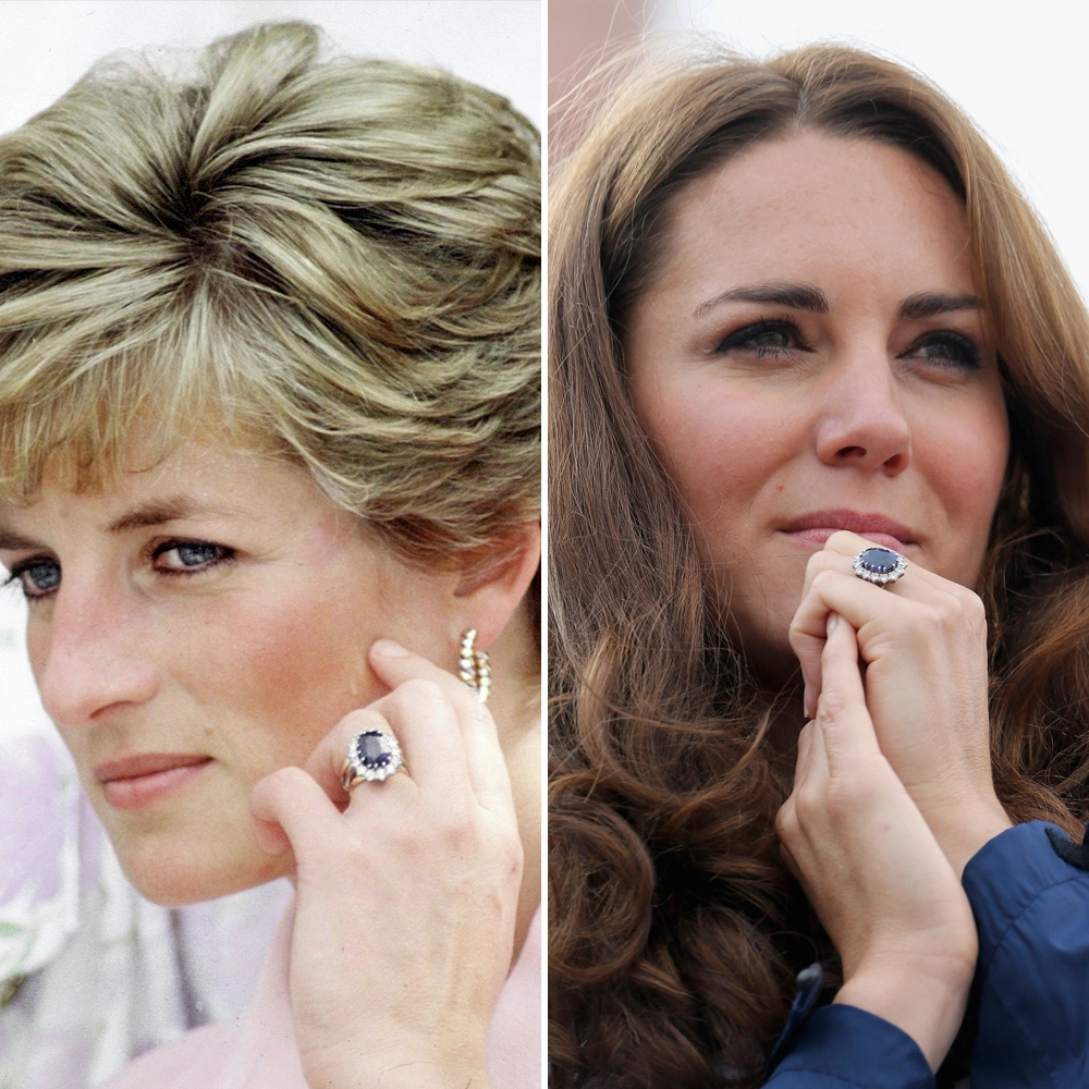 Princess Diana and Kate Middleton Catherine Duchess of Cambridge wearing sapphire engagement ring