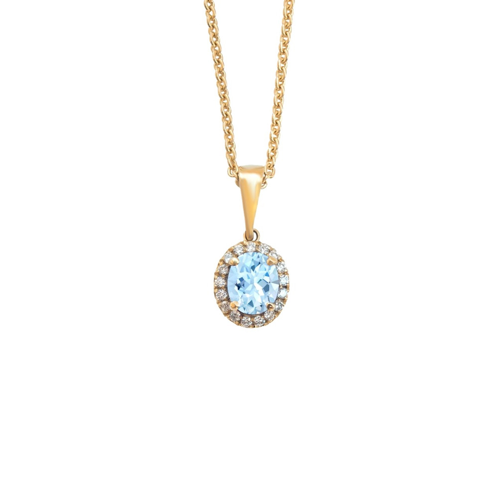oval aquamarine diamond halo pendant and link chain in yellow gold on a white background