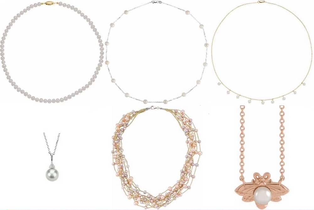 selection of classic and trendy pearl necklaces and pendants in white yellow and rose gold