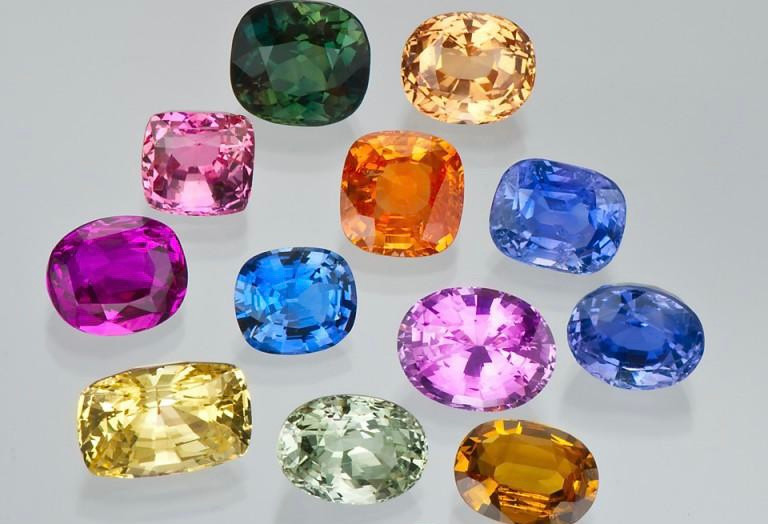 Loose sapphires of different colour, shape and cut