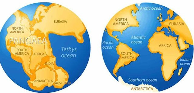 Pangea before and after separation, world map