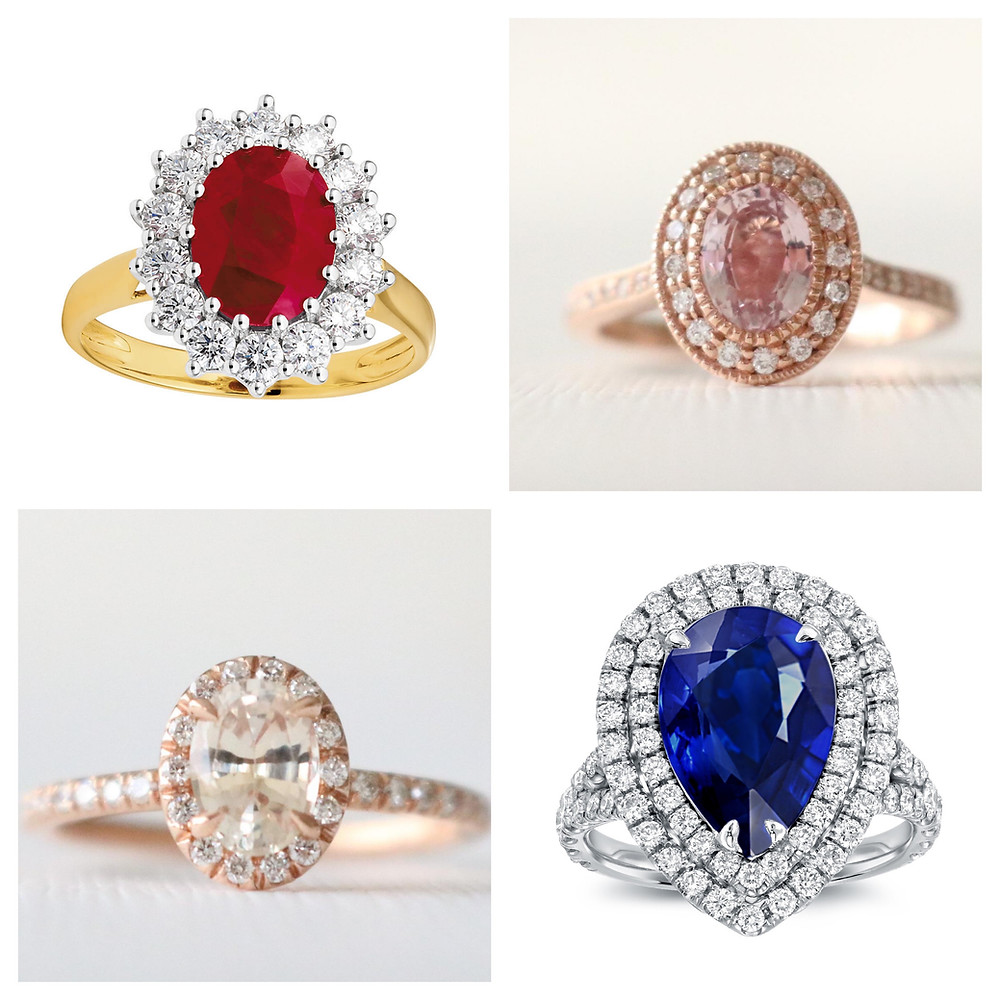 Engagement rings, Sapphire ring, Ruby ring, Peach sapphire ring, Diamond halo ring