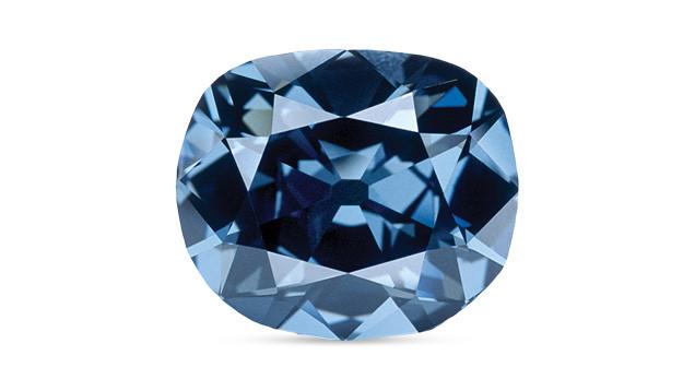 the hope diamond, blue diamond, loose, antique cushion, on a white background