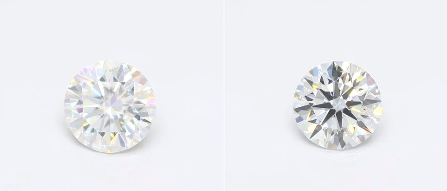 a loose round synthetic moissanite and a loosed round diamond next to each other, comparison on a white background