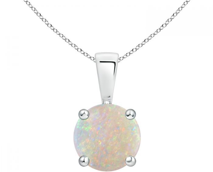 round opal white gold necklace