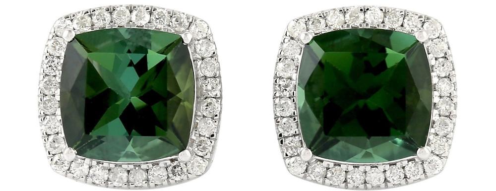cushion cut green tourmaline and diamond halo white gold stud earrings