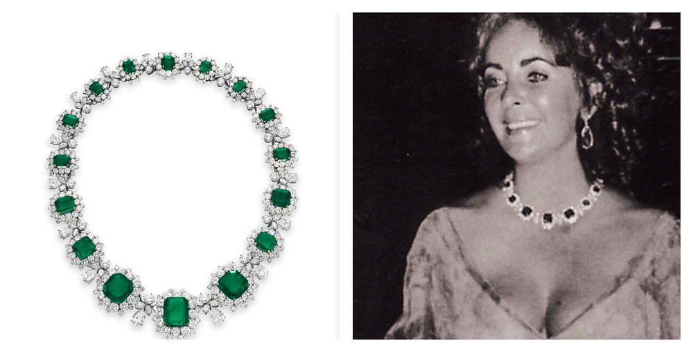 Elizabeth Taylor wearing emerald and diamond necklace