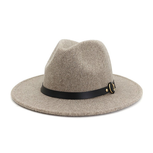 Trendy Speckled Fedora Hat With Gold Circle Leather Belt