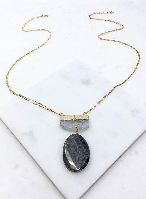 Crystal & Grey Stone Necklace