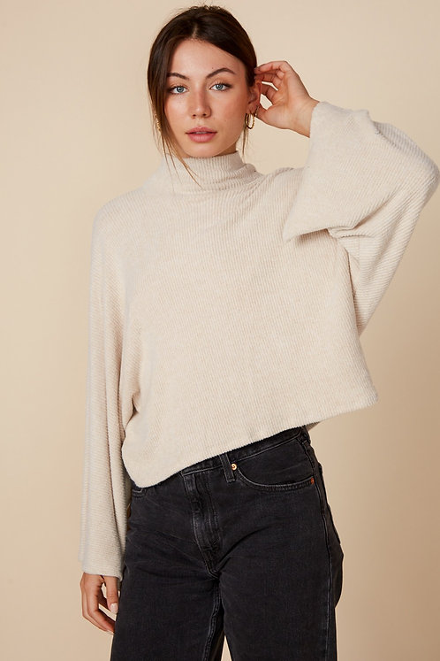 Off White Cropped Mock Neck Sweater