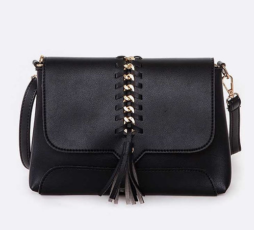 Black Criss-Cross Chain Crossbody Bag