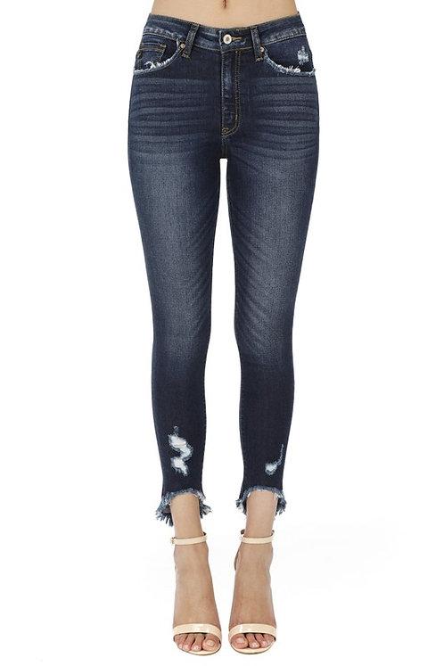 Frayed Hem Blue Jeans