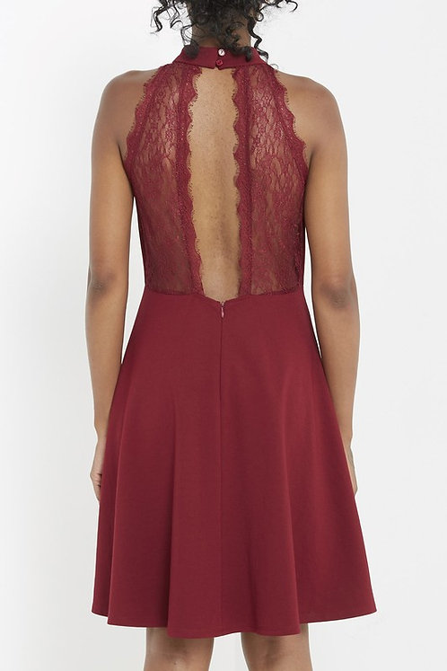 Burgundy Skater Dress With Lace Back