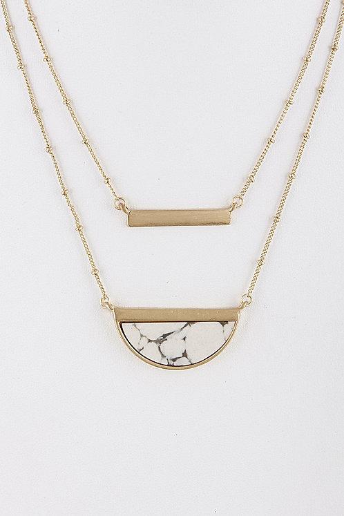 Stone Semi-Circle & Bar Double Layered Necklace